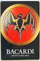 Bacardi Bat Logo embossed steel sign pt  300mm x 200mm (hi)