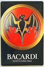 Bacardi Bat Logo embossed steel sign pt  300mm x 200mm (hi)