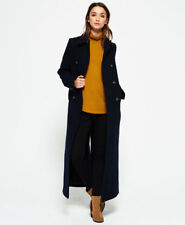 New Womens Superdry Super Long Bridge Coat Navy