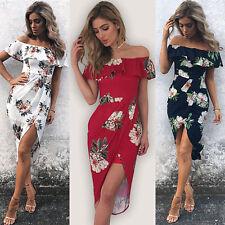 Fashion Women Summer Boho Floral Beach Dress Evening Cocktail Long Maxi Dress J