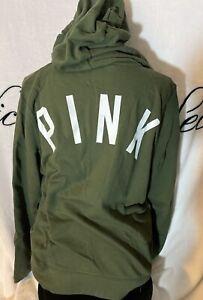 New! Victoria Secret PINK Large Logo Full Zip Sweatshirt Hoodie Green Jacket