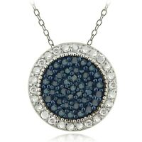 """925 Sterling Silver 1/2ct Blue & White Diamond Circle Necklace, 18"""""""