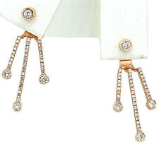 14k Rose Gold Diamond Jacket Earring E Color Vvs1 Clarity