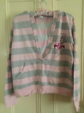 Target pink and grey striped hoodie size 16
