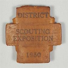 Vintage Boy Scouts 1950 District Scouting Exposition Leather Neckerchief Slide
