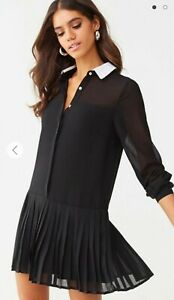 FOREVER 21 Black Pleated Drop-waist Dress Size M