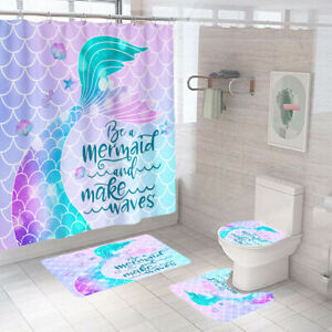 Mermaid Shower Curtain Set Bathroom Rugs Bath Mat Non-Slip Toilet Lid Cover