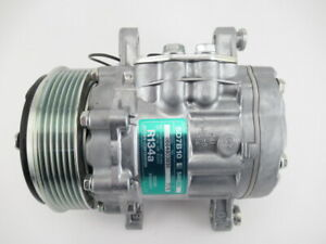 NEW 7176 AC Compressor w/Clutch-6GR SD7B10 Swing Mount-OEM SANDEN WITH FITTINGS