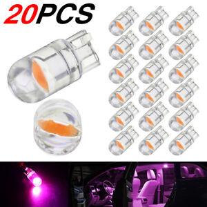 20pcs T10 LED COB Pink Purple W5W Car Interior Light Dome Lamp Map Bulb 168 194