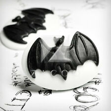 2 Halloween Resin Cabochons Bat animal Black Vintage Style Cameo 40x30 RB0748-6