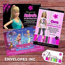 Personalizzato Compleanno Inviti Barbie x 5