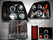 2002 CADILLAC ESCALADE HALO CCFL PROJECTOR BLACK HEADLIGHTS LED TAIL LIGHT SMOKE