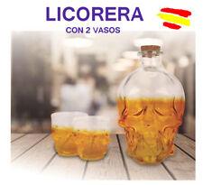 LICORERA con forma de CALAVERA con 2 VASOS 850 ML CRISTAL Regalo original