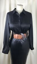 "NEW High Shine Satin Blouse Sissy TV CD Size 20 50"" Chest Black"