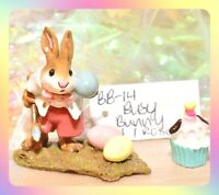 ❤️Wee Forest Folk B-14 Busy Bunny Easter Rabbit Eggs Rose Gray Retired WFF❤️