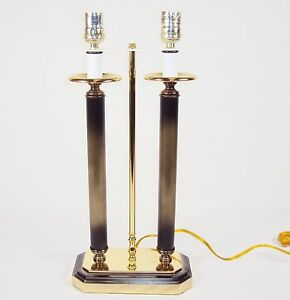 Table/Desk Lamp ~ Polished Flemish Finish ~ Twin Candlestick Pillars #2840770