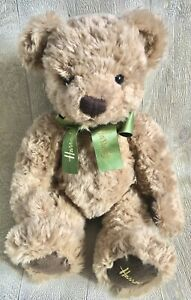 """Harrods Teddy Bear Green Ribbon Embroidered Foot Soft Toy Cuddly Plush Large 14"""""""