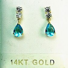 14k solid yellow gold lab. created teardrop Blue Topaz  stud small earrings