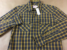 BROOKS BROTHERS Mens NWT Pearl Snap Button Front Dbl Flap Pocket Shirt Tag S