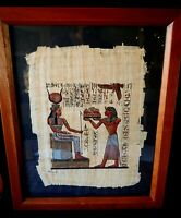 """Framed EGYPTIAN PAINTING on PAPYRUS Handpainted CLEOPATRA Signed 16 1/4""""x20 1/2"""""""