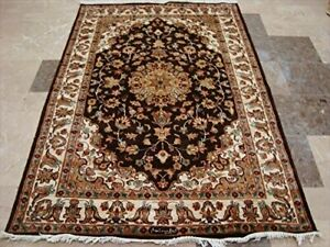 Awesome Love Chocolate Brown Floral Hand Knotted Rug Wool Silk Carpet (6 x 4)'