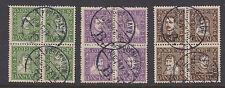 DENMARK : 1924 Danish Post set  SG218-223A+B in fine used blocks of four-2 sets