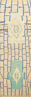 Geometric Authentic Moroccan Berber Oriental Runner Rug Plush Wool Handmade 3x10