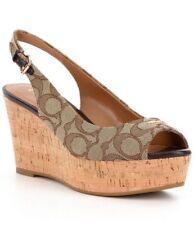 NIB Coach Ferry Wedge Sig Jacquard Monogram Khaki Chestnut Shoes Size 9.5