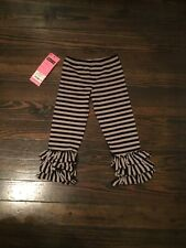 Mustard Pie Nwt Girl's Boutique Black & Taupe Tango Triple Ruffled Pants 4