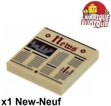 Lego 1x Tile decorated 2x2 Newspaper News journal beige/tan 3068bpb0951 NEUF