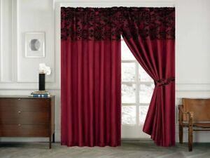 "Luxury Damask Flock Pencil Pleat Curtains Wine With Black Flocking  66""x72"""