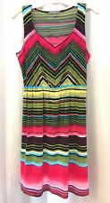 NY Collection Dress Womens Size Medium Colorful Multi-Color Sleeveless Summer