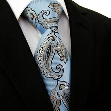 Blue Gold Copper Black Paisley DESIGN 100% SILK TIE Jacquard Woven Floral Stripe