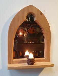 Gothic Arch Solid Wooden English Oak Keyhole Mirror & Shelf 50 cm long Hand Made