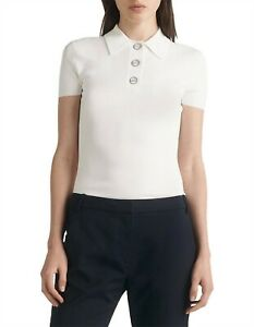 DION LEE white Density polo tee XS Fits AU 6 could also fit 8