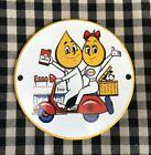 VINTAGE+ESSO+MOTOR+OIL+Boy+and+Girl+on+Moped+PORCELAIN+ENAMEL+SIGN%2C+GAS+OIL