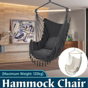 Extra Large Macrame Hammock Chair Hanging Rope Tassel Swing Seat with 2 Cushions
