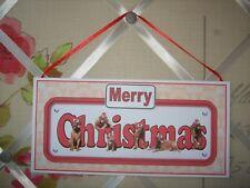 Handmade Dogue de Bordeaux Merry Christmas Sign Dog Hanging Plaque Decor Gold
