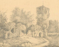 A Pair of Late 19th Century Graphite Drawings - Picturesque Ruins
