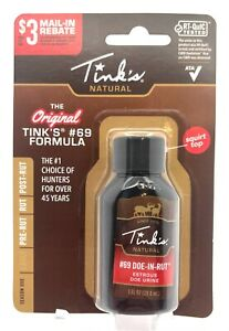 Tink's #69 Doe-In-Rut Buck Attractant Lure Estrous Scent 1 oz Squirt Top Bottle