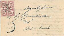ITALIA REGNO:  storia postale - FRANCOBOLLI di SERVIZIO Sass 2 x 4 su BUSTA 1876
