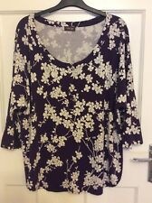 Ladies Size 18 Maroon 3/4 Sleeve Floral Phase Eight Top