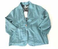 J Jill Women Blazer Jacket Size L Blue One Button V-neck 3/4 Sleeve Collar