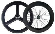 700C Fixed Gear Carbon Wheelset Front Tri Spoke Rear 88mm Urban Bike Track Wheel