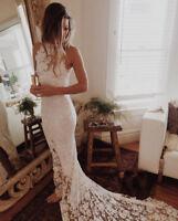 Open Back Court Wedding Dresses Halter Lace Bridal Dress Mermaid Wedding Gown