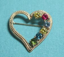 6 Birthstones ~ Ruby~Sapphire~Peridot~Aqu amarine~Topaz New listing 14K Gold Heart Pin Brooch