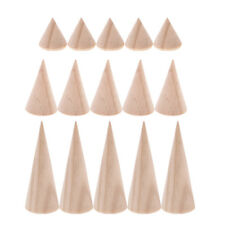15pcs Mixed Size Ring Display Stand Holder Wooden Cone Jewelry Showcase