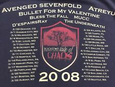 2008 Taste Of CHAOS AVENGED SEVENFOLD MUCC BULLET FOR MY VALENTINE Rare Tshirt S