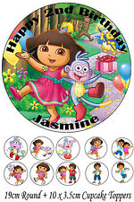 Personalised 19cm Round + 10x 3.5cm Dora Edible WAFER Cake Topper