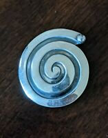 Vintage TAXCO Mexico Designer Signed 925 Sterling Silver Swirl Brooch Pin
